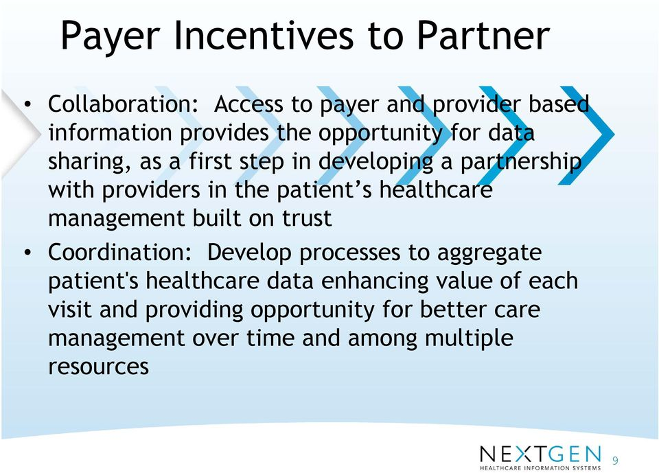 healthcare management built on trust Coordination: Develop processes to aggregate patient's healthcare data