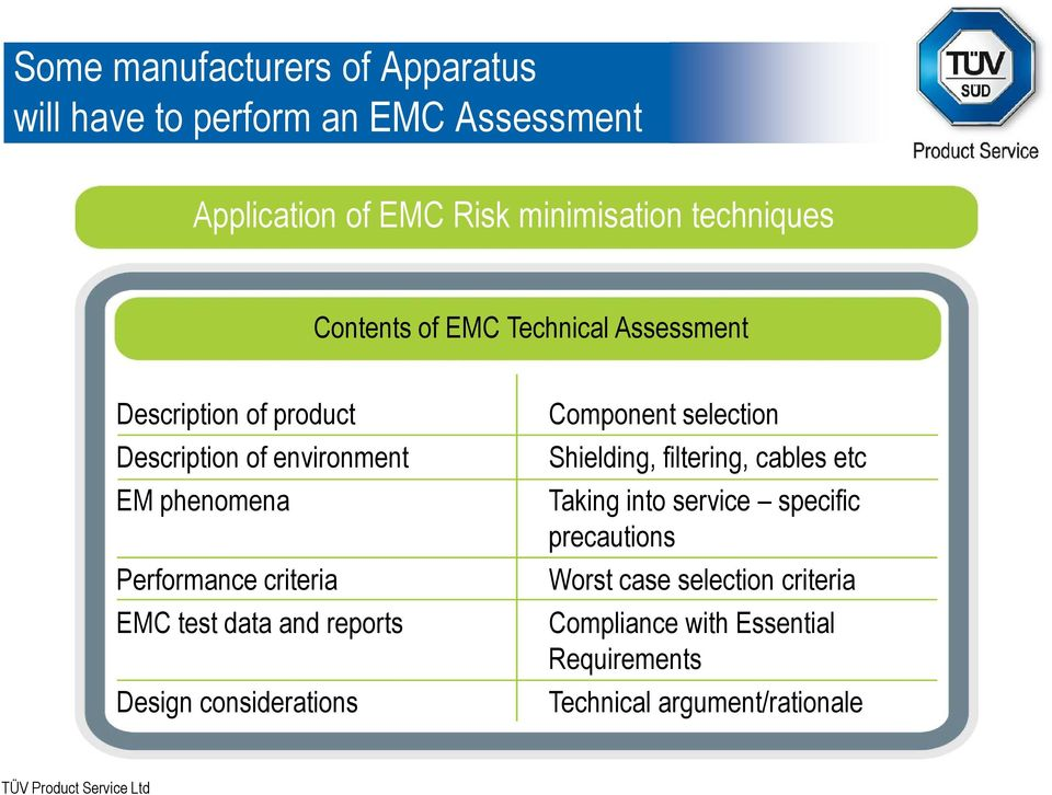criteria EMC test data and reports Design considerations Component selection Shielding, filtering, cables etc Taking