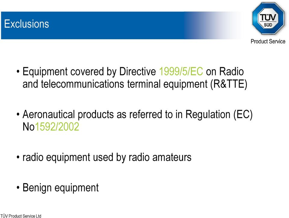 Aeronautical products as referred to in Regulation (EC)