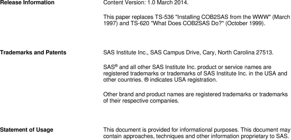 Technical Paper  COB2SAS for SAS Software  (This paper replaces TS
