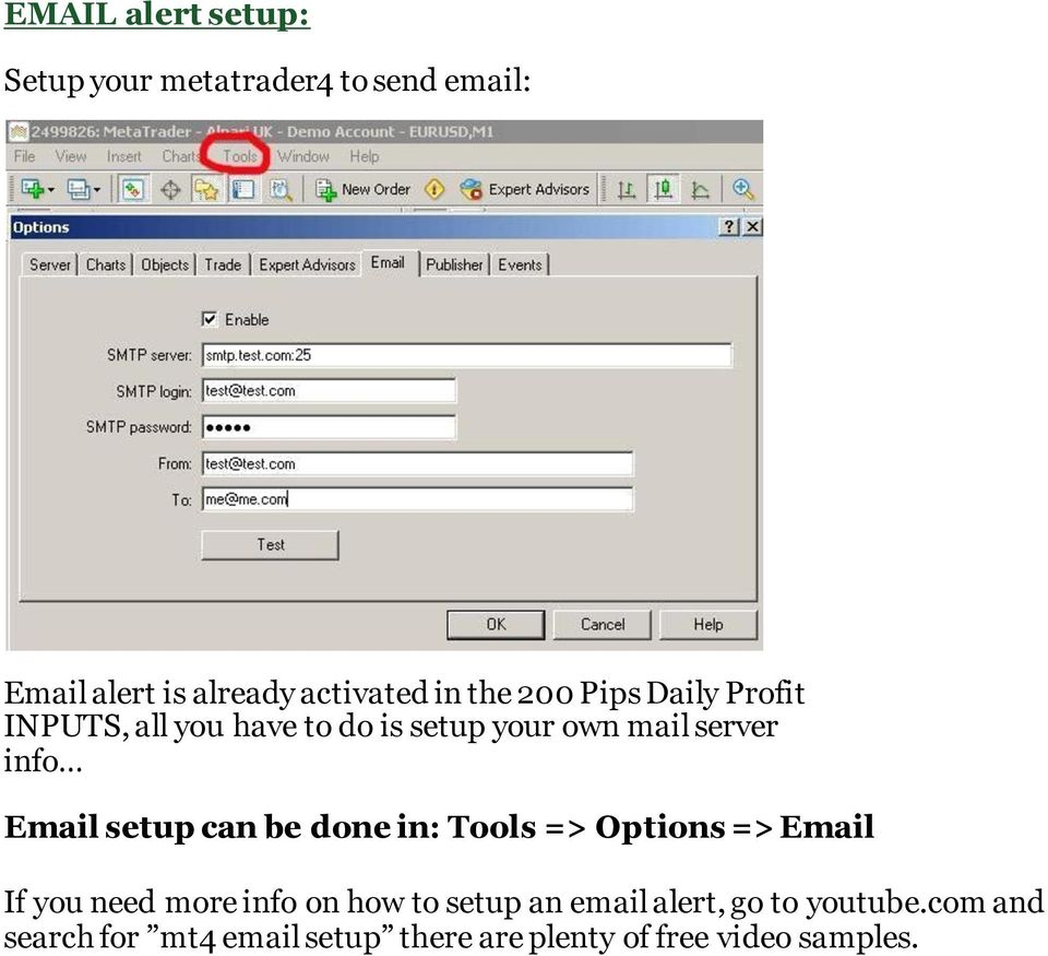 setup can be done in: Tools => Options => Email If you need more info on how to setup an email