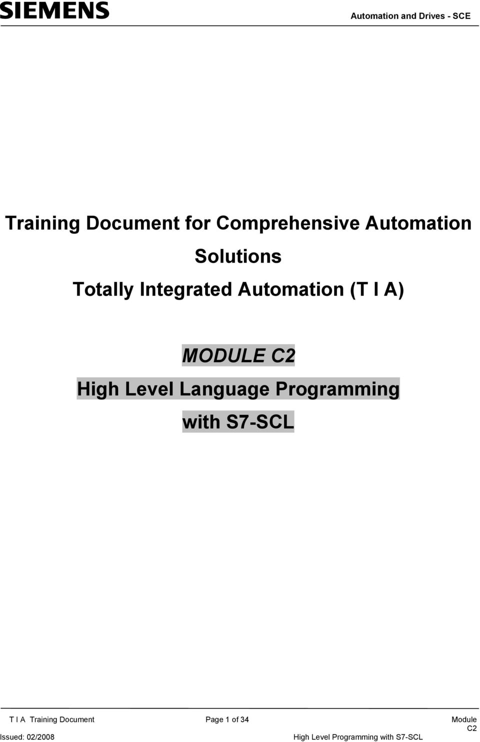 High Level Language Programming with S7-SCL T I A