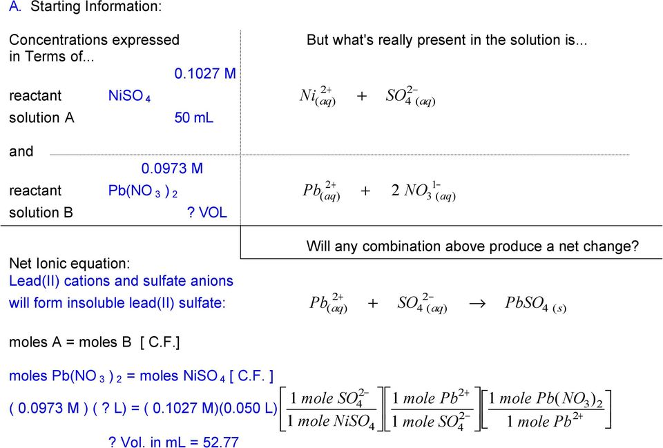 VOL Lead(II) cations sulfate anions + ( aq) 4 ( aq) 4 ( s) will form insoluble lead(ii) sulfate: Pb +