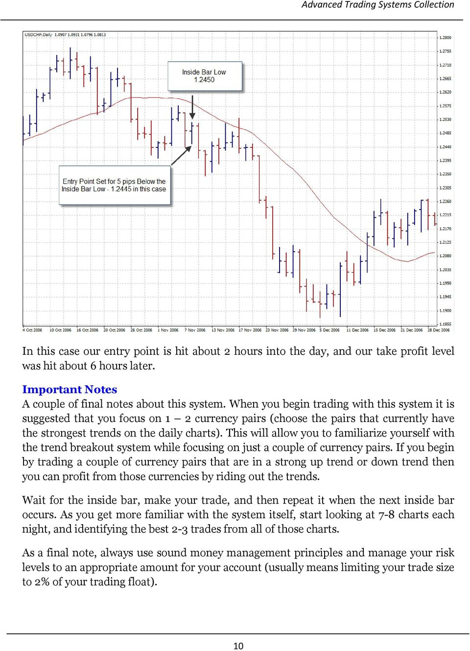 This will allow you to familiarize yourself with the trend breakout system while focusing on just a couple of currency pairs.