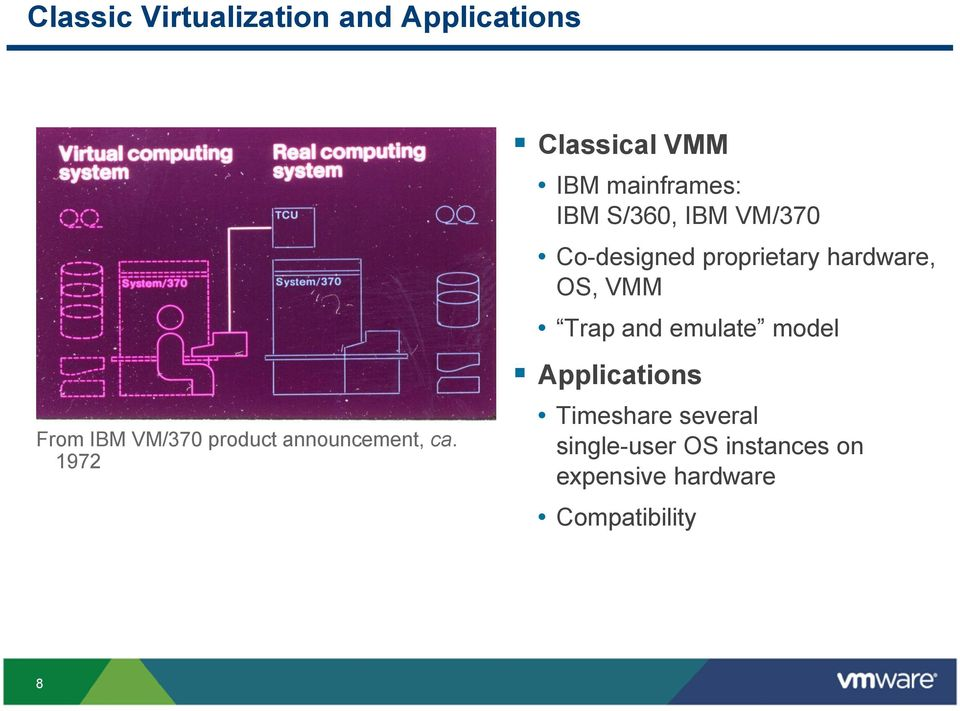 emulate model Applications From IBM VM/370 product announcement, ca.