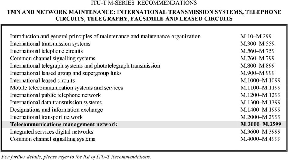 transmission International leased group and supergroup links International leased circuits Mobile telecommunication systems and services International public telephone network International data