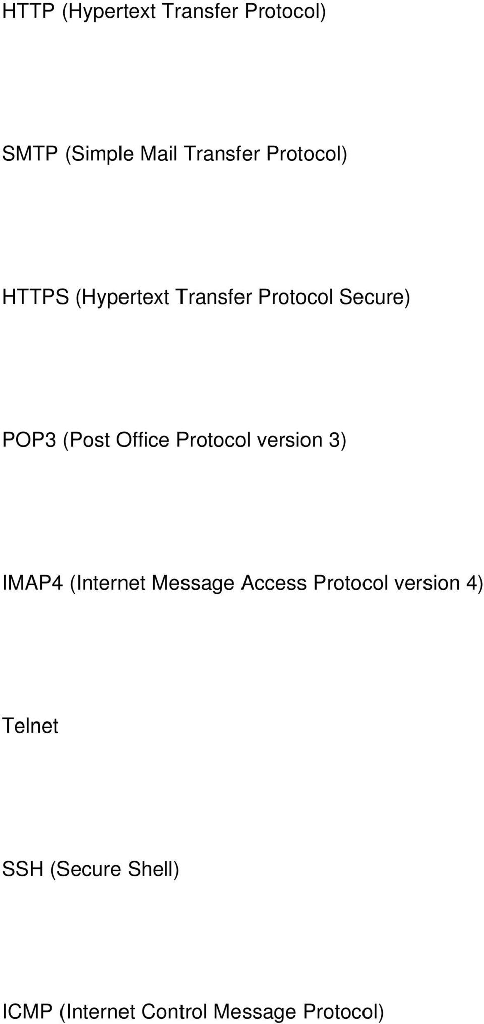 Office Protocol version 3) IMAP4 (Internet Message Access Protocol