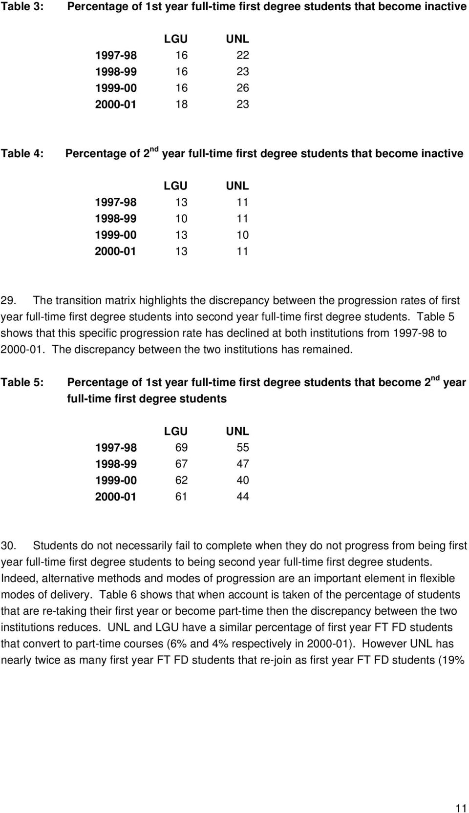 The transition matrix highlights the discrepancy between the progression rates of first year full-time first degree into second year full-time first degree.