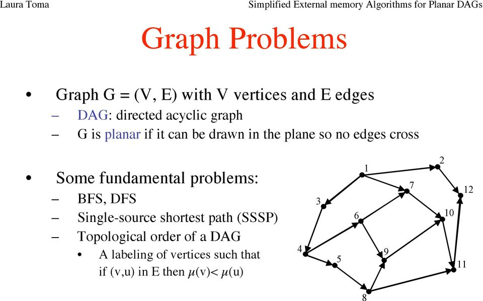 problems: BFS, DFS Single-source shortest path (SSSP) Topological order of a DAG A