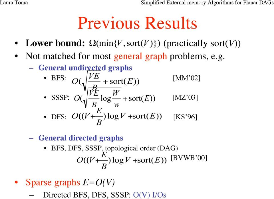 General undirected graphs BFS: VE O ( + sort( E)) B VE W SSSP: O ( log + sort( E)) B w E DFS: O (( V+