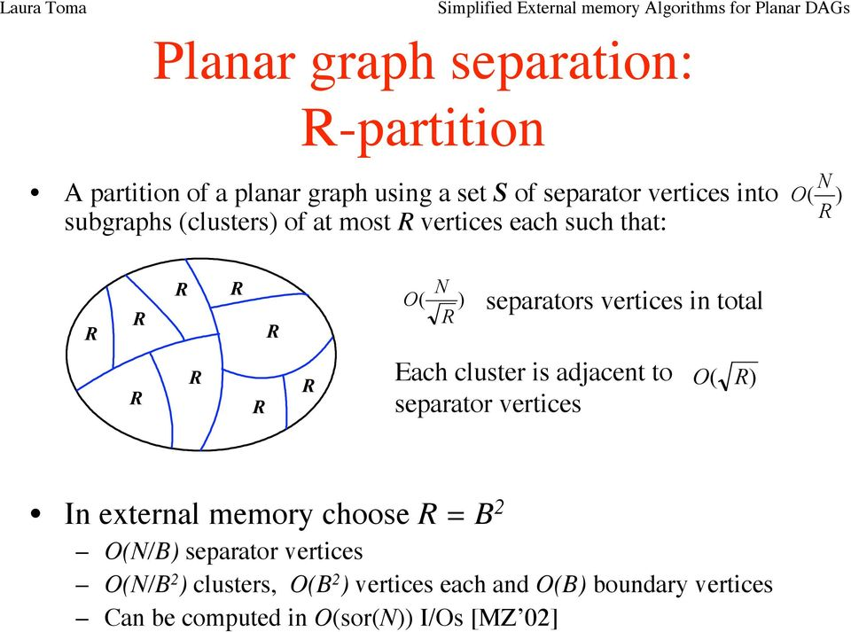 cluster is adjacent to separator vertices O( ) In external memory choose = B 2 O(N/B) separator vertices