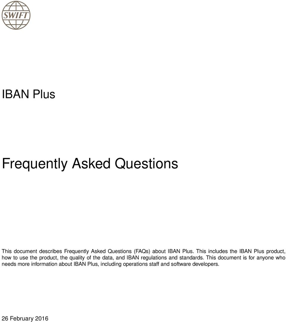 the data, and IBAN regulations and standards.