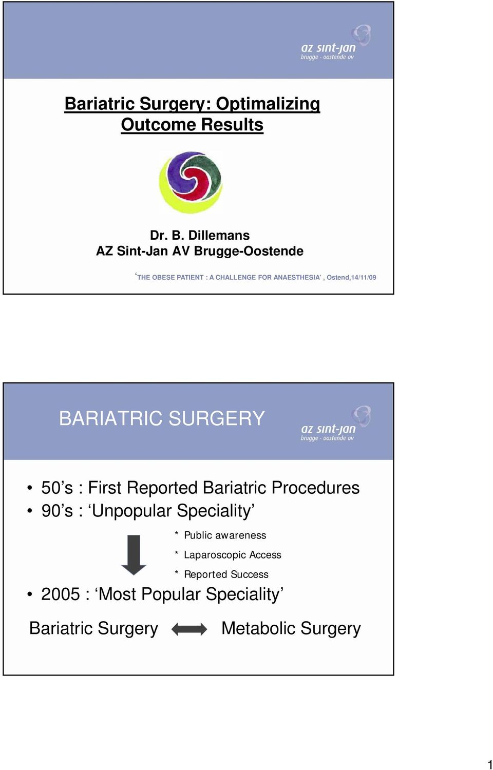Ostend,14/11/09 BARIATRIC SURGERY 50 s : First Reported Bariatric Procedures 90 s : Unpopular
