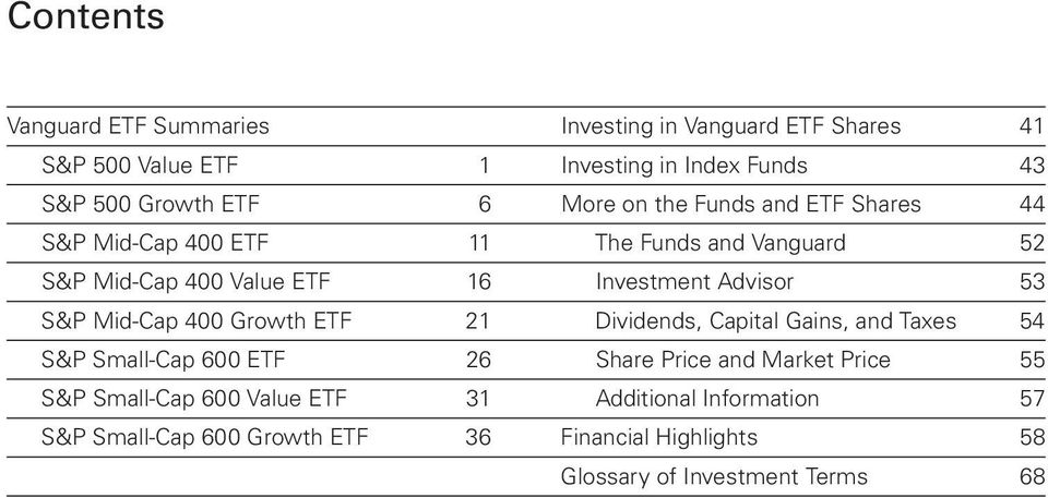 53 S&P Mid-Cap 400 Growth ETF 21 Dividends, Capital Gains, and Taxes 54 S&P Small-Cap 600 ETF 26 Share Price and Market Price 55 S&P