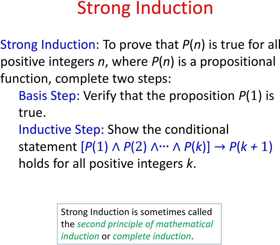 Inductive Step: Show the conditional statement [P(1) P(2) P(k)] P(k + 1) holds for all positive integers