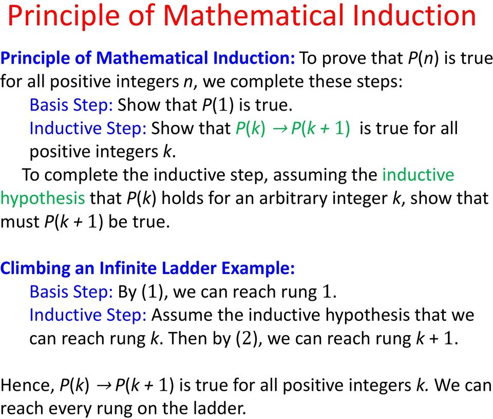 To complete the inductive step, assuming the inductive hypothesis that P(k) holds for an arbitrary integer k, show that must P(k + 1) be true.