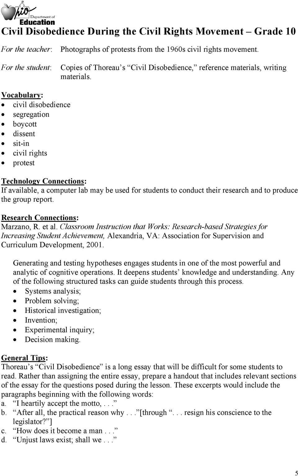 produce the group report. Research Connections: Marzano, R. et al.