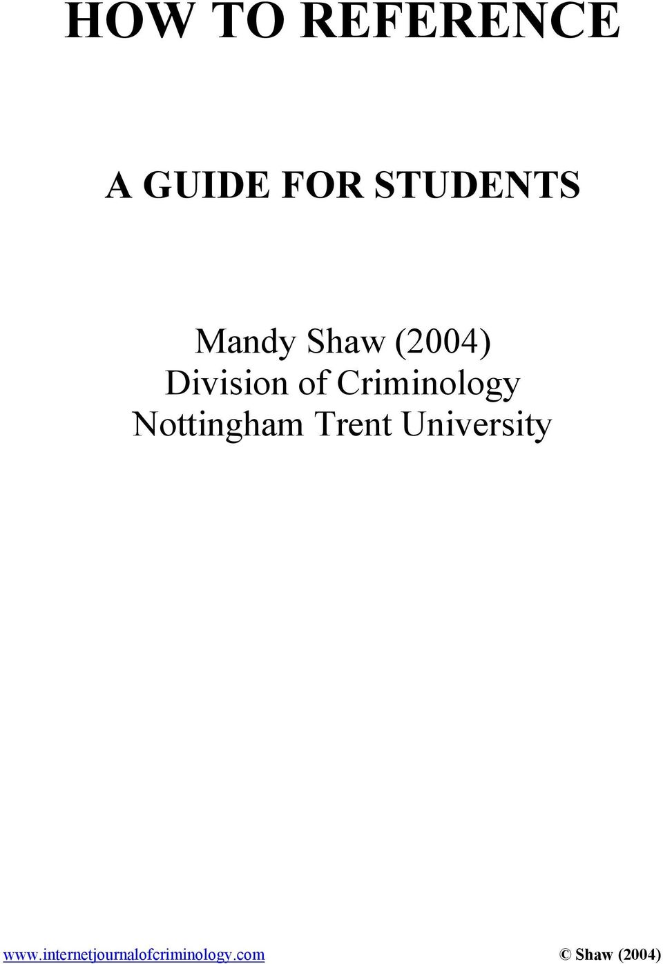 of Criminology Nottingham Trent