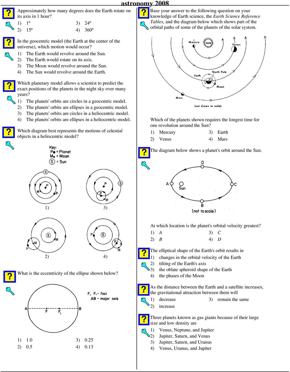 Base your answer to the following question on your knowledge of Earth science, the Earth Science Reference Tables, and the diagram below which shows part of the orbital paths of some of the planets