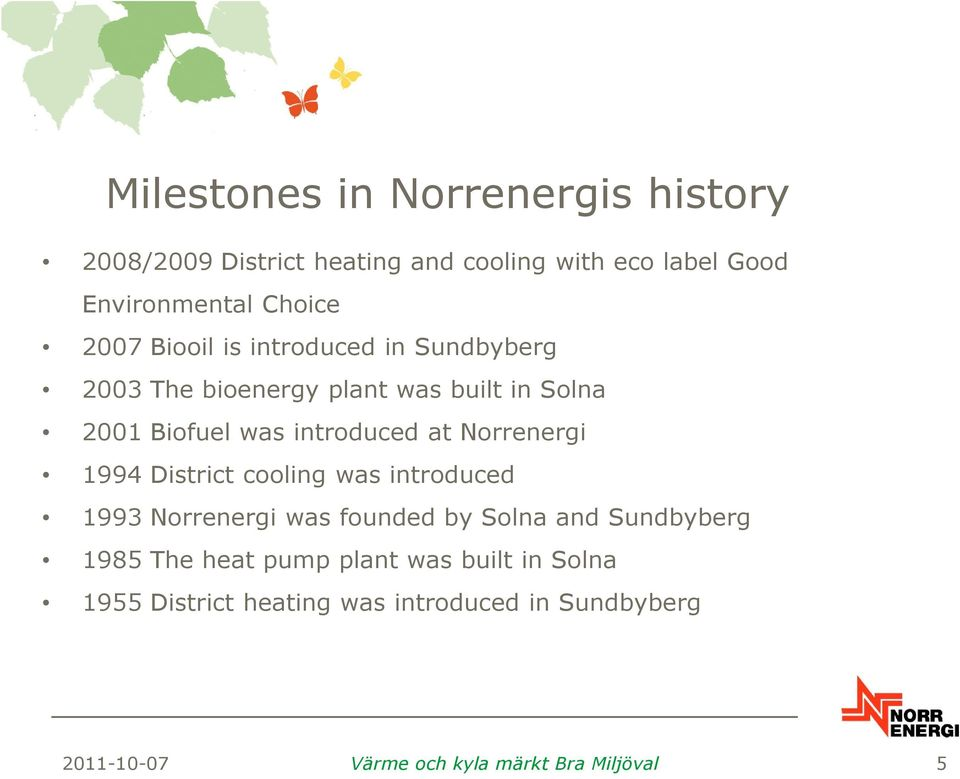 Norrenergi 1994 District cooling was introduced 1993 Norrenergi was founded by Solna and Sundbyberg 1985 The heat