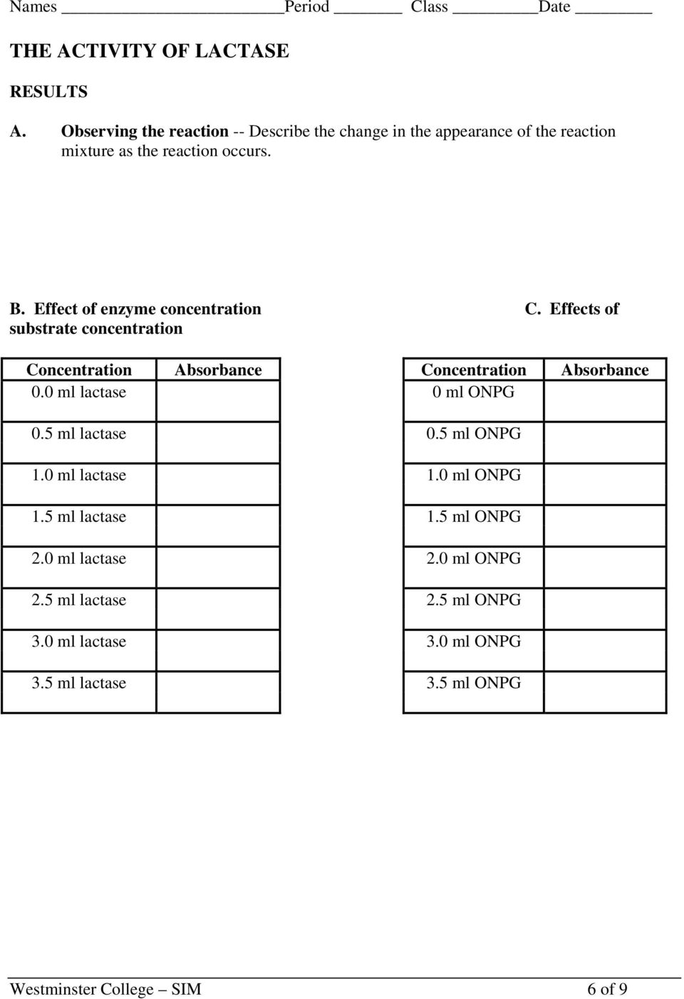 Effect of enzyme concentration C. Effects of substrate concentration Concentration Absorbance Concentration Absorbance 0.