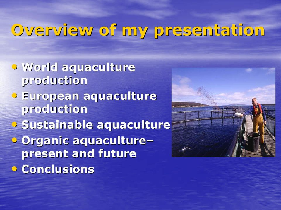 aquaculture production Sustainable