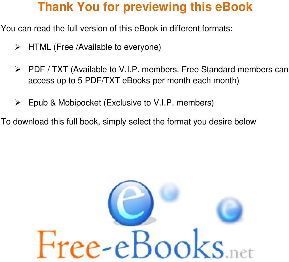 Free Standard members can access up to 5 PDF/TXT ebooks per month each month) Epub &