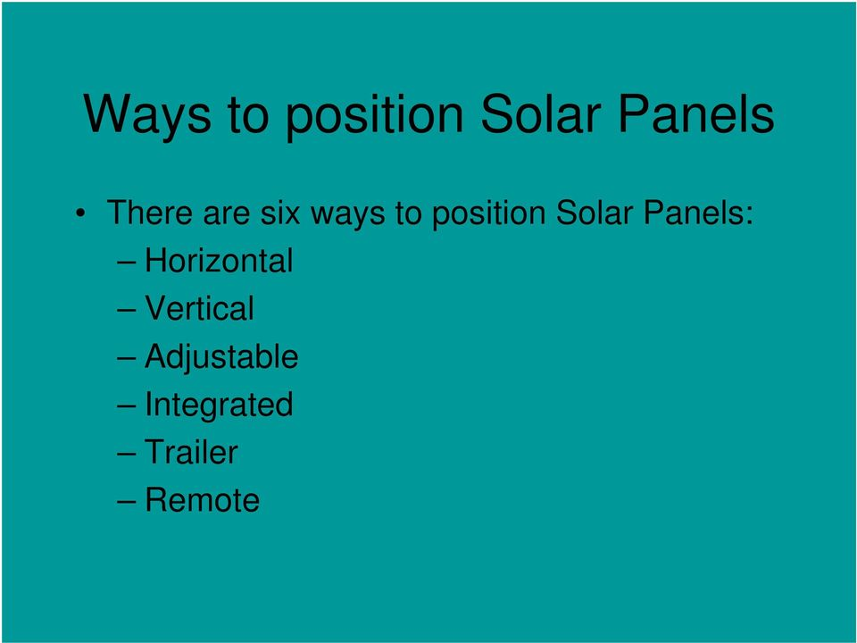 Solar Panels: Horizontal