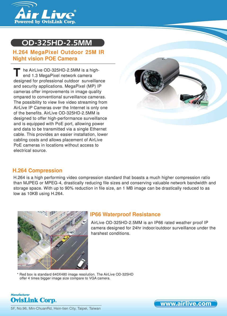 MegaPixel (MP) IP cameras offer improvements in image quality ompared to conventional surveillance cameras.