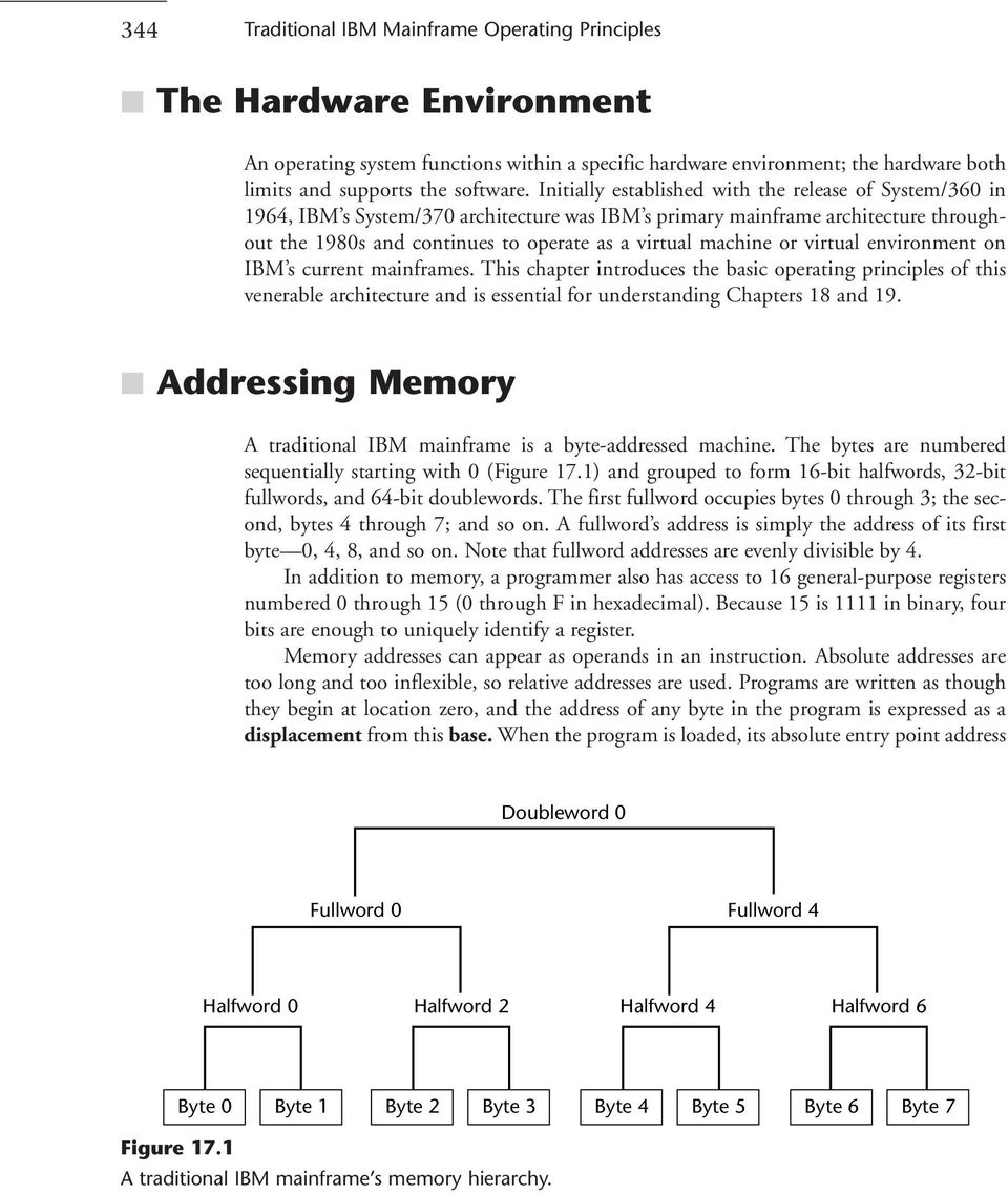 or virtual environment on IBM s current mainframes. This chapter introduces the basic operating principles of this venerable architecture and is essential for understanding Chapters 18 and 19.