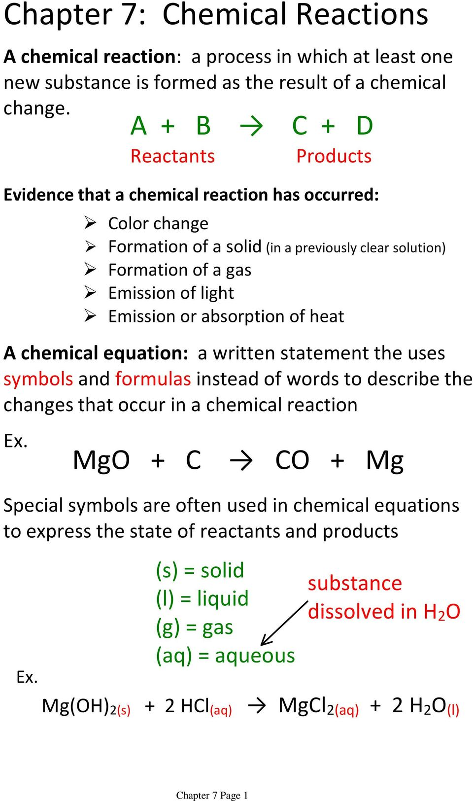 that occur in a chemical reaction Ex. MgO + C CO + Mg Special symbols are often used in chemical equations to express the state of reactants and products Ex.