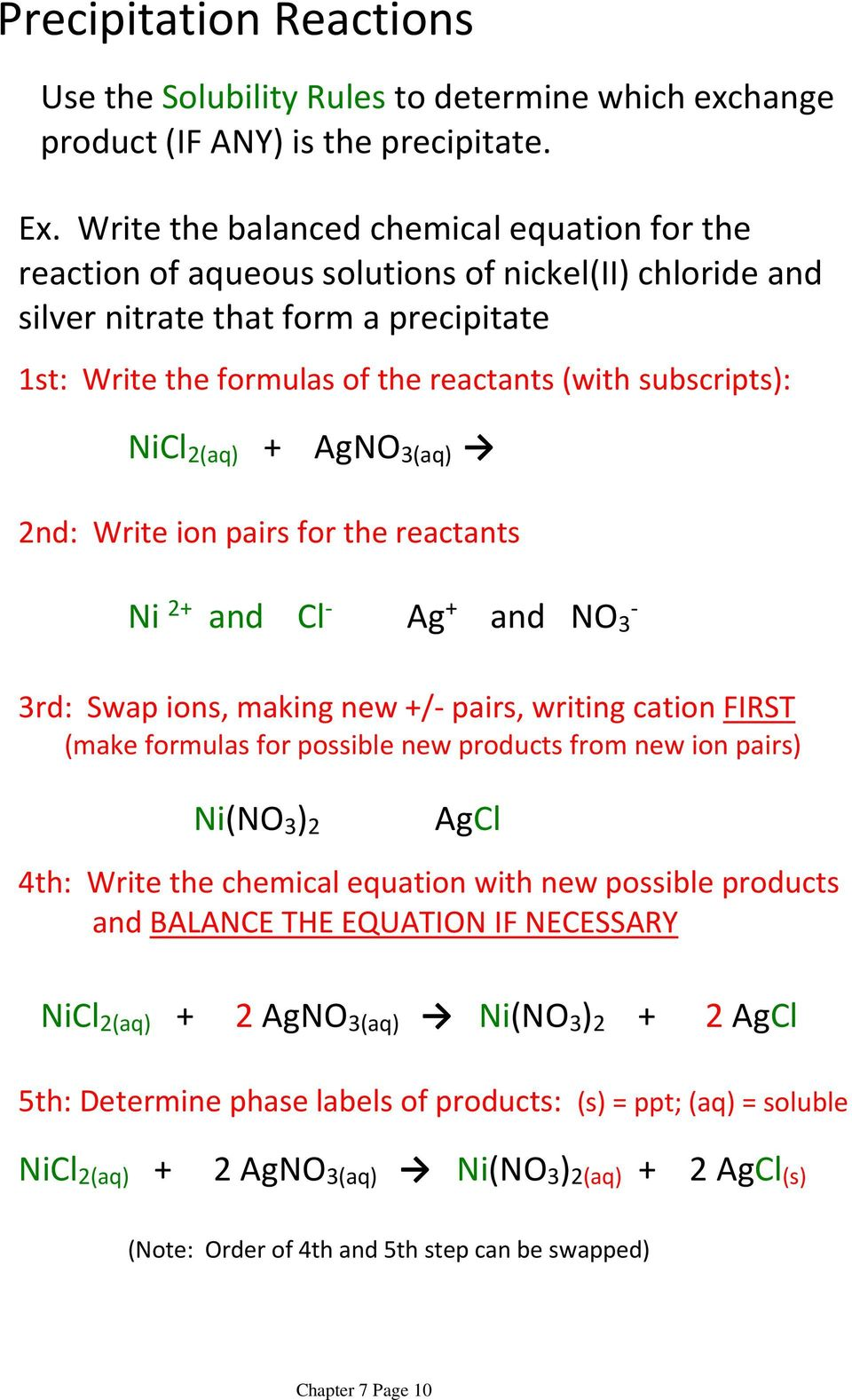 subscripts): NiCl 2(aq) + AgNO 3(aq) 2nd: Write ion pairs for the reactants Ni 2+ and Cl - Ag + and NO 3-3rd: Swap ions, making new +/- pairs, writing cation FIRST (make formulas for possible new