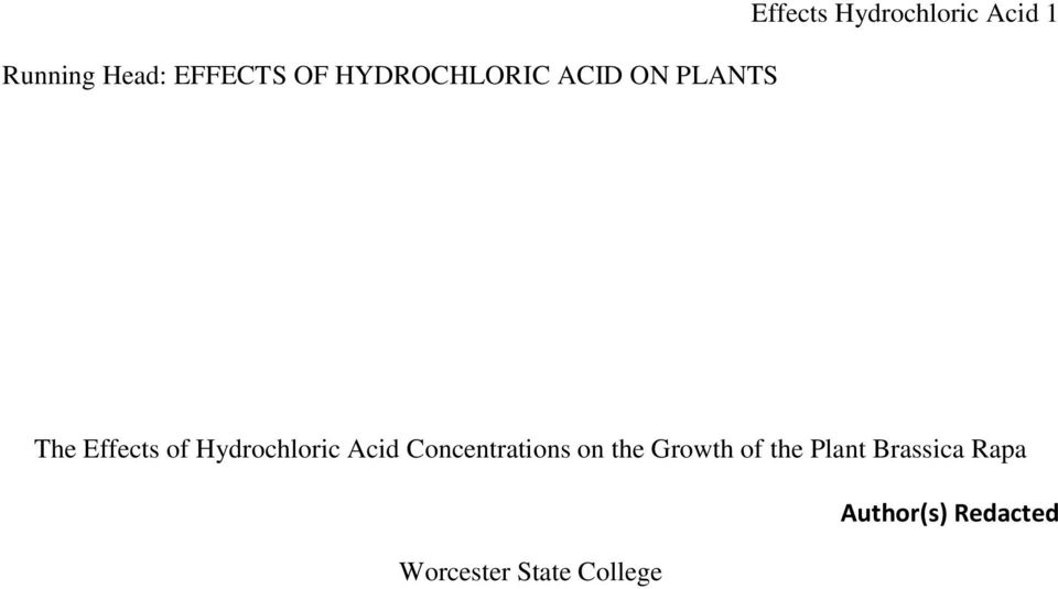 Hydrochloric Acid Concentrations on the Growth of