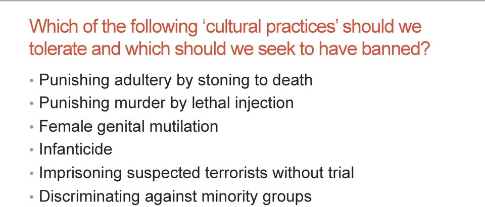 Punishing adultery by stoning to death Punishing murder by lethal injection