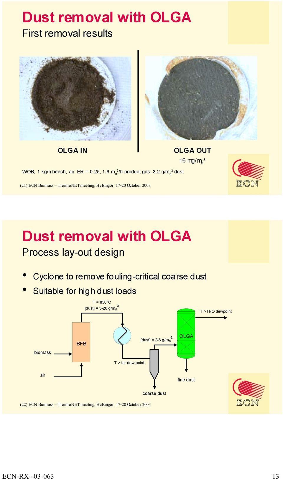 to remove fouling-critical coarse dust Suitable for high dust loads T = 850 C [dust] = -20 g/m n T > H2O dewpoint biomass BFB T > tar