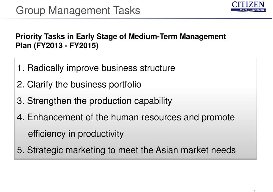 Clarify the business portfolio 3. Strengthen the production capability 4.