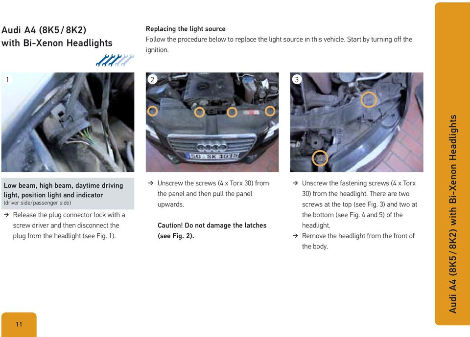 headlight (see Fig. 1). Unscrew the screws (4 x Torx 30) from the panel and then pull the panel upwards. Caution! Do not damage the latches (see Fig. 2).