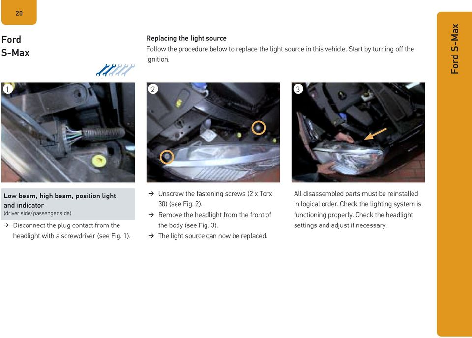 (see Fig. 1). Unscrew the fastening screws (2 x Torx 30) (see Fig. 2). Remove the headlight from the front of the body (see Fig. 3).