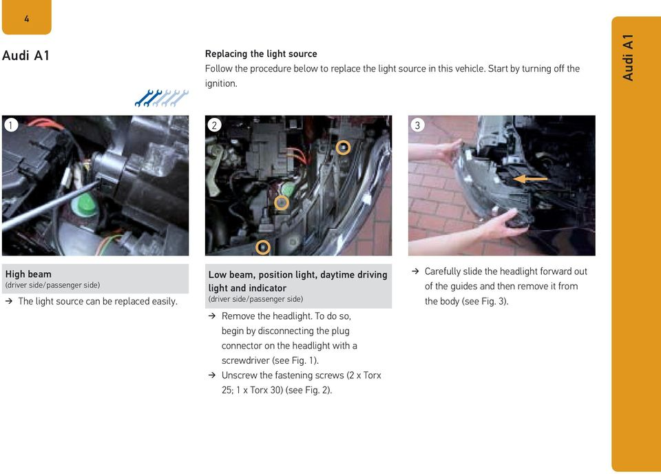 Low beam, position light, daytime driving light and indicator (driver side/passenger side) Remove the headlight.