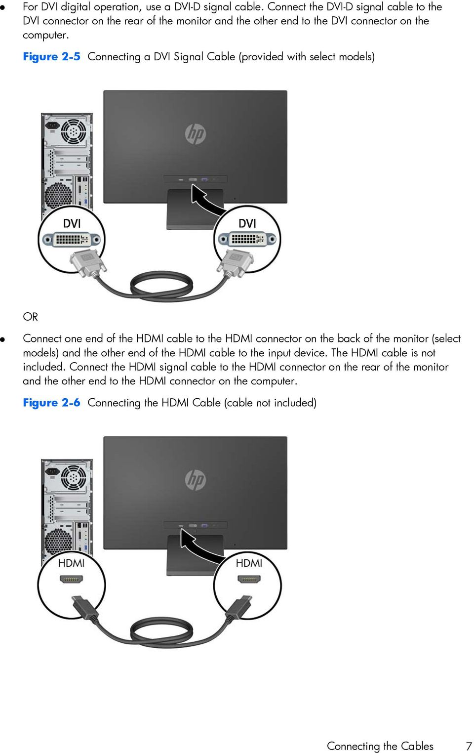 Figure 2-5 Connecting a DVI Signal Cable (provided with select models) OR Connect one end of the HDMI cable to the HDMI connector on the back of the monitor (select