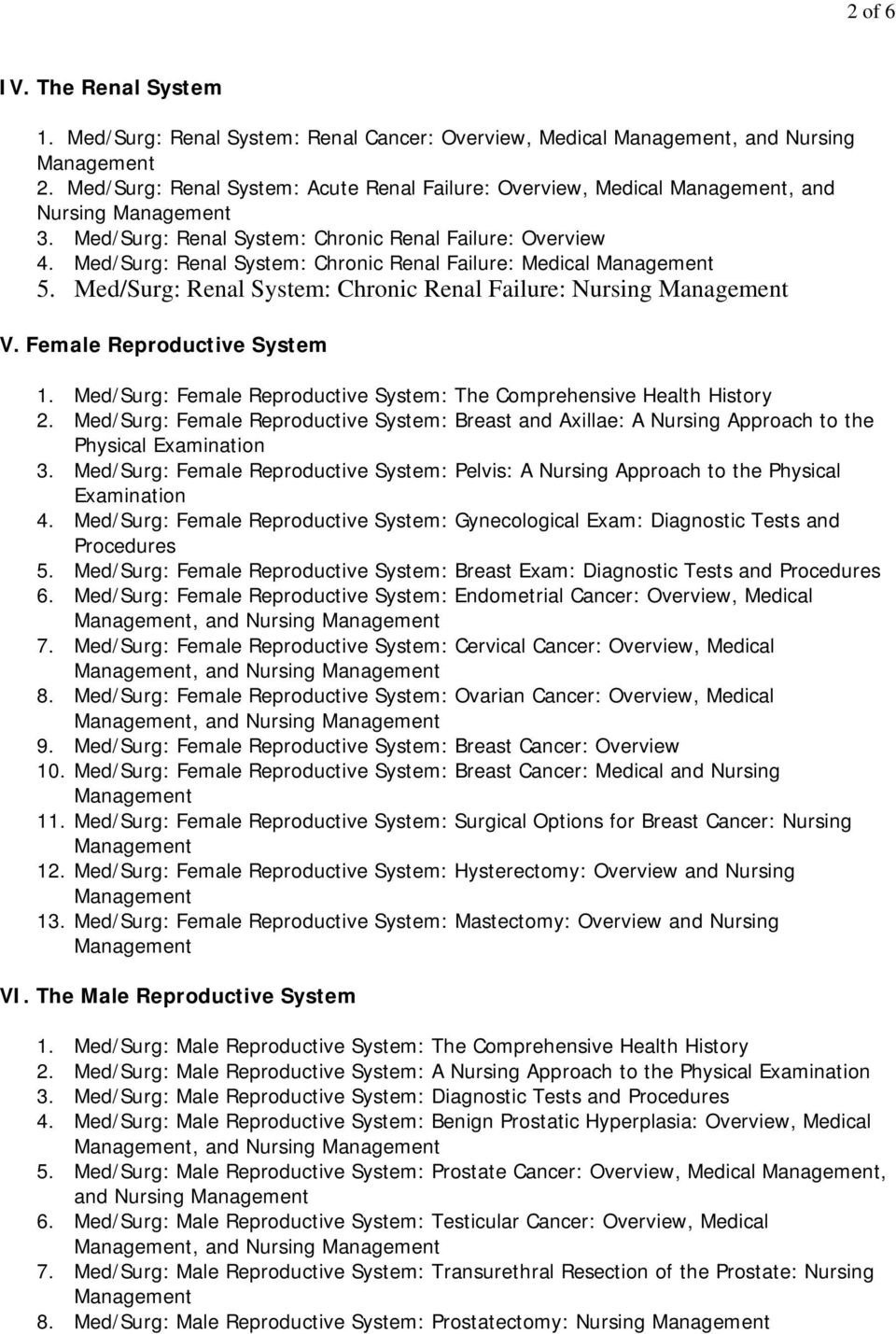 Female Reproductive System 1. Med/Surg: Female Reproductive System: The Comprehensive Health History 2. Med/Surg: Female Reproductive System: Breast and Axillae: A Nursing Approach to the Physical 3.