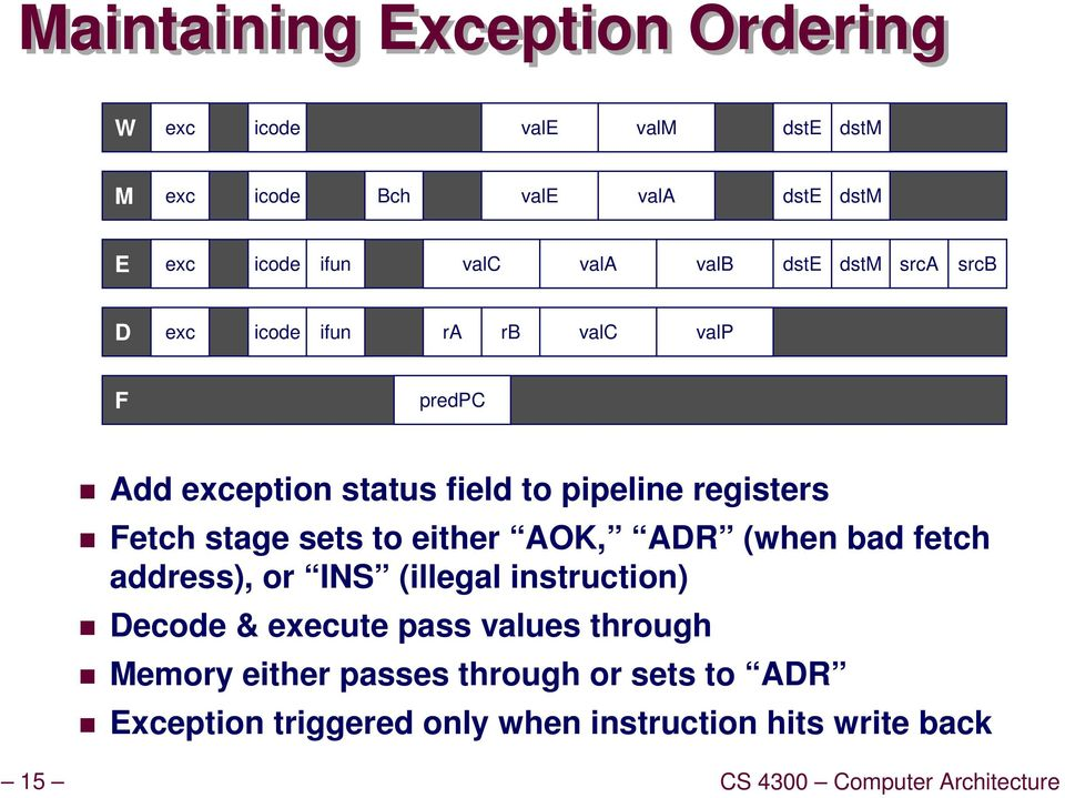 stage sets to either AOK, ADR (when bad fetch address), or INS (illegal instruction) Decode & execute pass values through