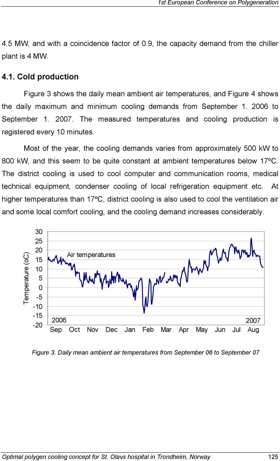 Most of the year, the cooling demands varies from approximately 500 kw to 800 kw, and this seem to be quite constant at ambient temperatures below 17ºC.