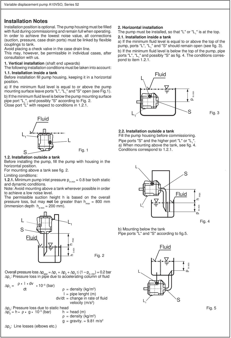 This may, however, be permissible in individual cases, after consultation with us. 1. Vertical installation (shaft end upwards) The following installation conditions must be taken into account: 1.1. Installation inside a tank efore installation fill pump housing, keeping it in a horizontal position.