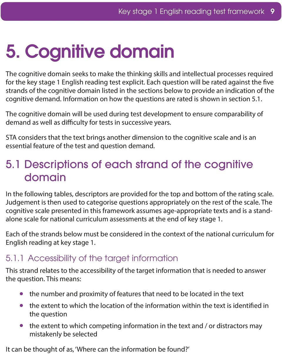Each question will be rated against the five strands of the cognitive domain listed in the sections below to provide an indication of the cognitive demand.