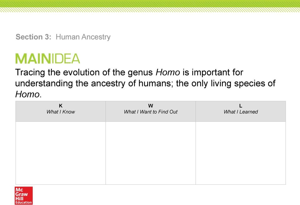 of humans; the only living species of Homo.