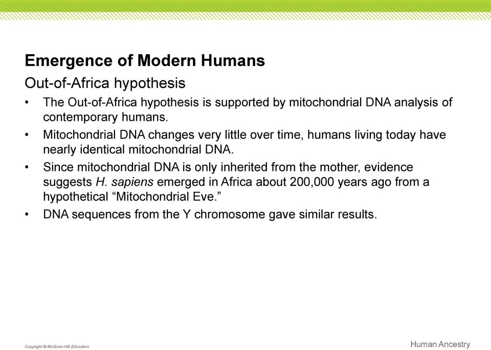 Mitochondrial DNA changes very little over time, humans living today have nearly identical mitochondrial DNA.