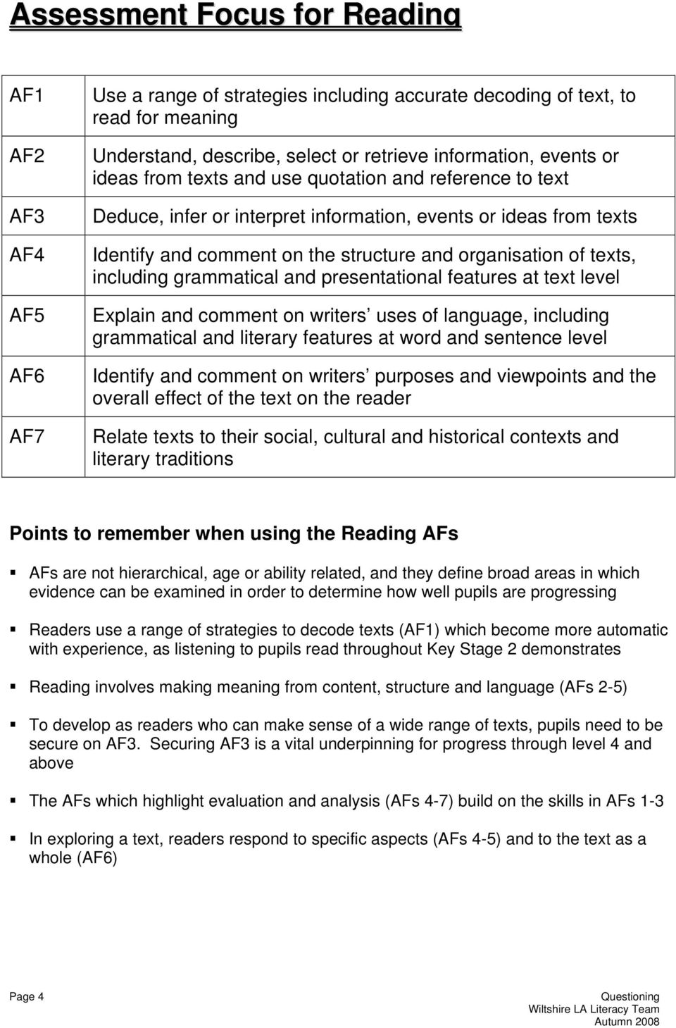 including grammatical and presentational features at text level Explain and comment on writers uses of language, including grammatical and literary features at word and sentence level Identify and