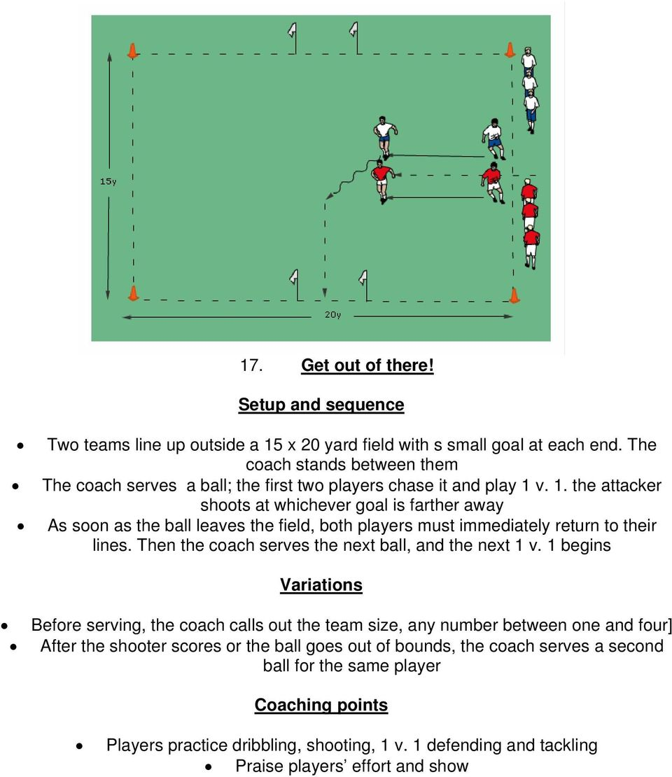v. 1. the attacker shoots at whichever goal is farther away As soon as the ball leaves the field, both players must immediately return to their lines.
