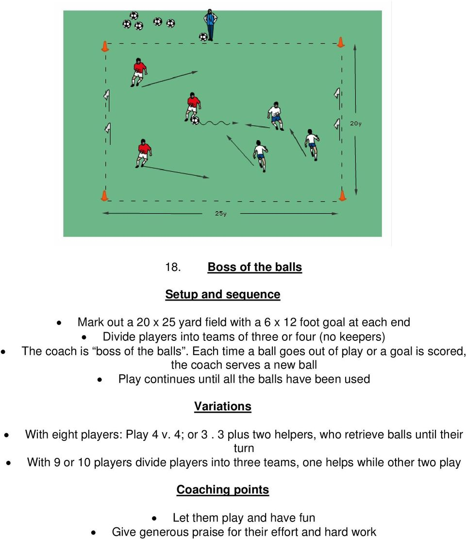 Each time a ball goes out of play or a goal is scored, the coach serves a new ball Play continues until all the balls have been used Variations With